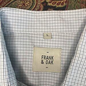 Frank & Oak Light Blue Plaid Dress Shirt